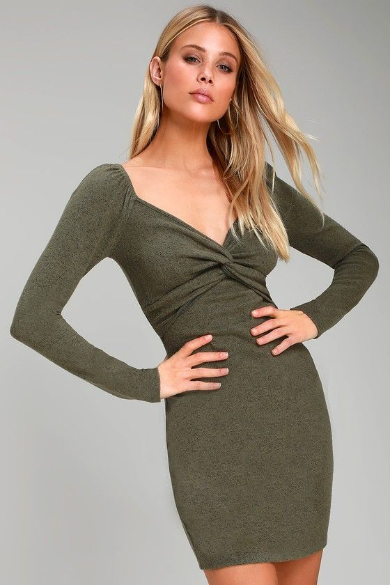47746600504e Kick up your everyday look with the Lulus Take Things Up A Knot Heathered  Green Knotted Bodycon Dress! Soft and lightweight heathered knit shapes  this chic ...