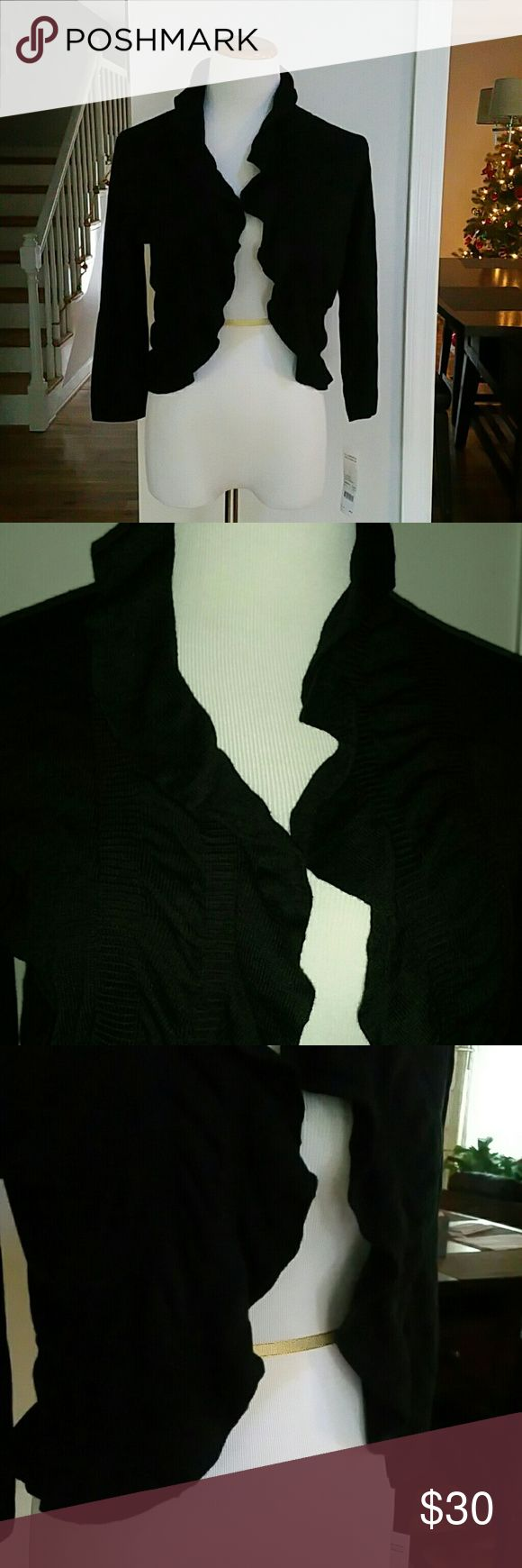 NWT NY COLLECTION CARDIGAN NWT NY Collection Ruffled Cropped Cardigan  Color : Black Size : Medium  Materials : 60% COTTON  40% RAYON NY Collection Sweaters Cardigans
