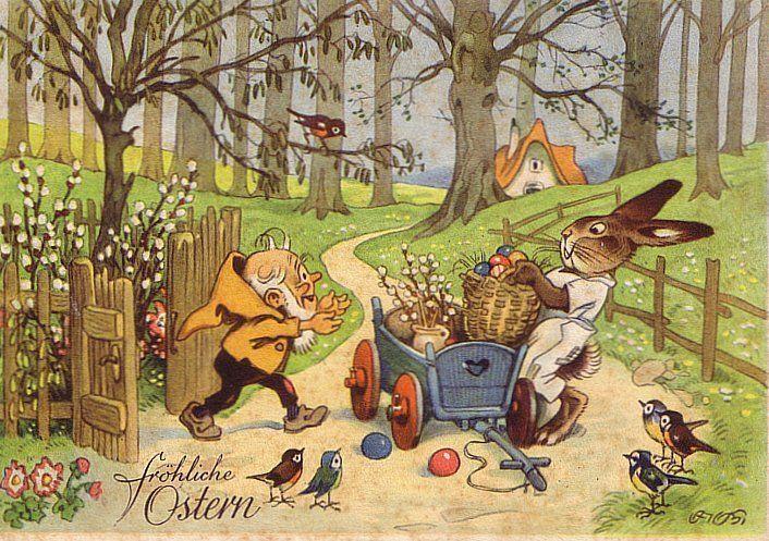 OSTERHASE bringt die EIER ZWERG sign. Fritz BAUMGARTEN c1955 ERH II Ansehen !