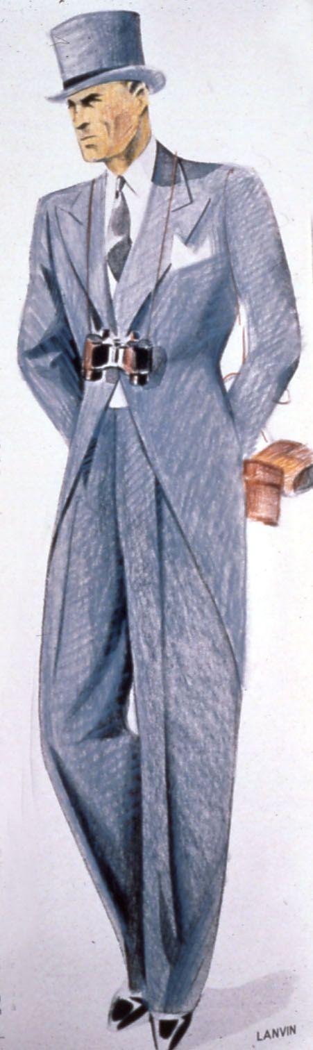 Costume queue de pie bleu Lanvin et cravate assortie, 1946 © Patrimoine Lanvin. #Lanvin125