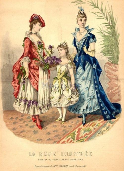 Fancy dress, 1889 France, La Mode Illustree    Flower girl, flower, star