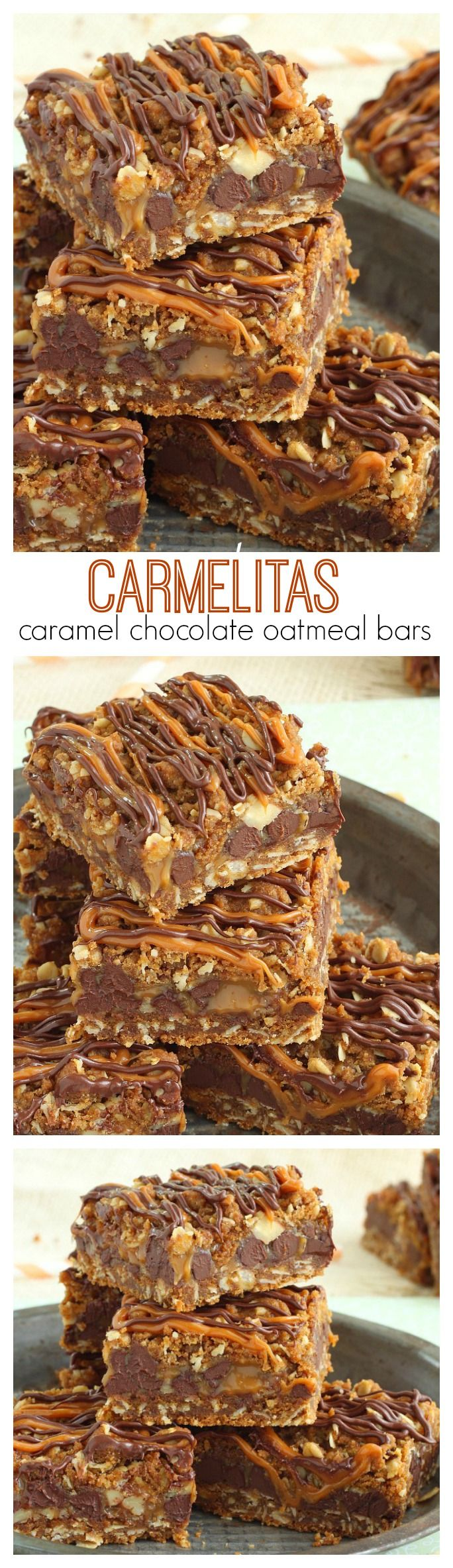 Easy to make oatmeal cookie bars filled with gooey caramel and oozing chocolate.