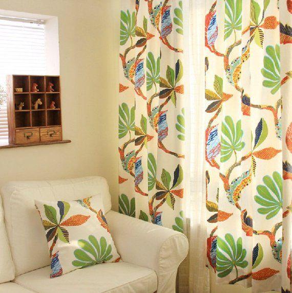 Cotton Duck Tropical Leaf Print Curtain Panel 52 W Etsy