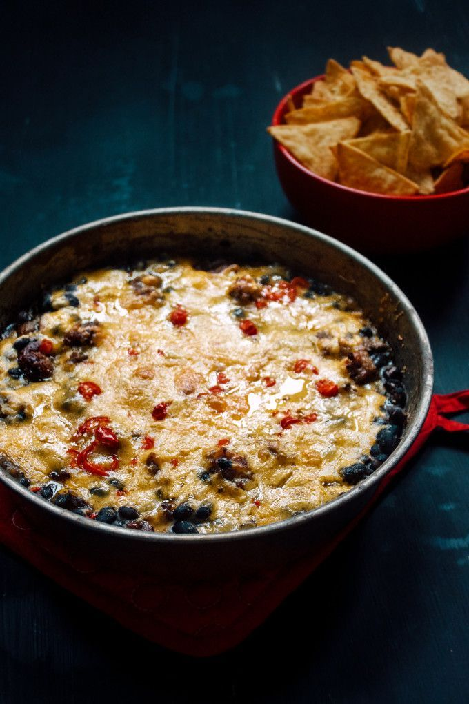 Cheesy Black Bean Dip (Toaster Oven) - a super easy, simple recipe for baked black bean dip, filled with cream cheese, cheddar cheese, ground beef and hot peppers. A perfect lazy weekend lunch or an easy appetizer for a party!