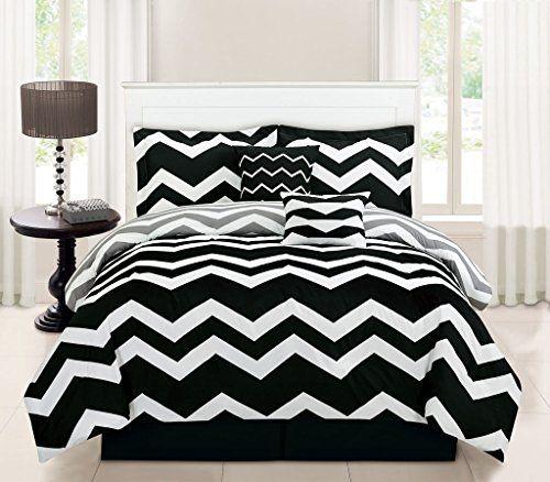 Pretty 6-Piece Black and White Chevron Comforter Set. Chevron Bedding and Comforter Sets