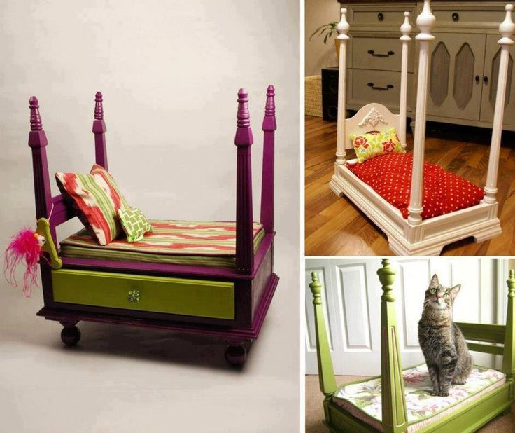 animal beds from suitcases | Animal bed made from old nightstand!