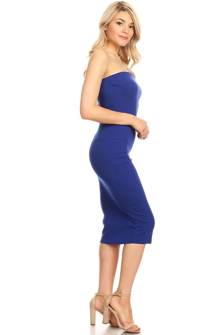 10bd2106b7 MOA COLLECTION Women s Casual Solid Comfy Sexy Strapless Midi Bodycon Tube  Dress Made in USA
