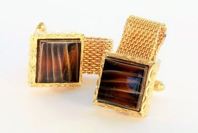 Rolled Gold Square Cufflinks Set with Square Brown Banded Agates.    A bold elegant statement with a striking gemstone from Mother Nature.