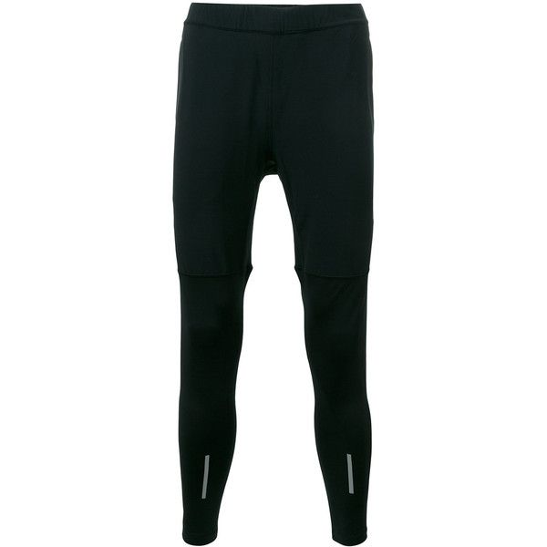 Nike City running leggings ($78) ❤ liked on Polyvore featuring men's fashion, men's clothing, men's activewear, black, nike mens apparel and nike mens clothing