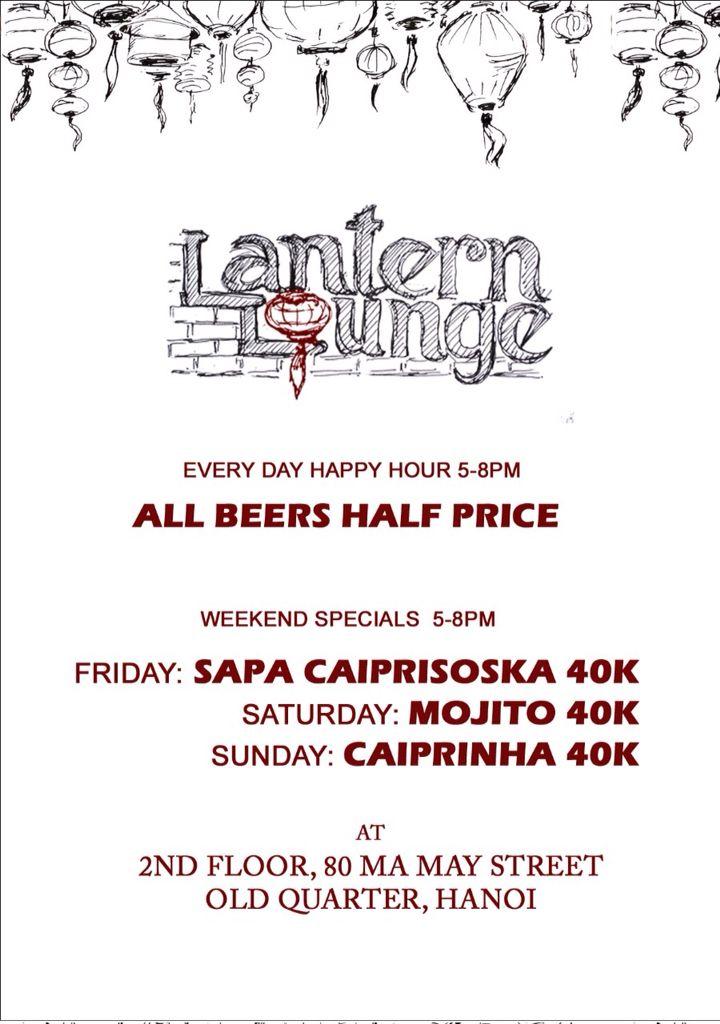 Drink promotions @ Lantern Lounge Hanoi