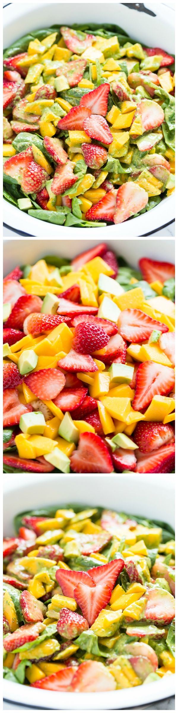 Strawberry Mango Spinach Salad with Creamy Basil Dressing - a fresh, simple taste of Spring!