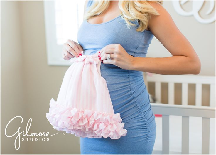On Location: In home Maternity Session - Newport Beach Photographer, Newport, CA, Cali, California, new home, pregnant, maternity, sky blue dress, maxi dress, pregnant belly, beautiful couple, neutral tones, neutral colors, blonde, red nail polish, manicure, nursery, crib, light pink baby dress, pink, frilly dress, wedding ring  GilmoreStudios.com