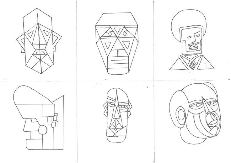 Geometric face drawing