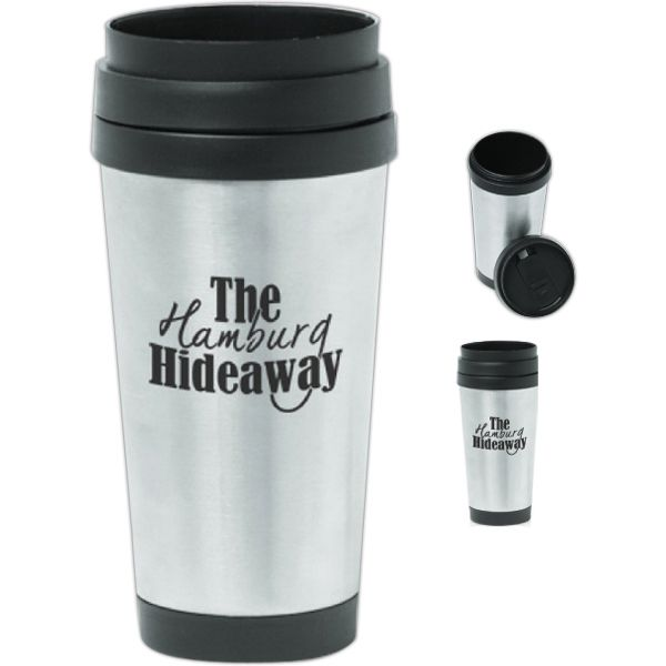 Sixteen ounce economy travel mug / travel tumbler with double wall thermal plastic insulated, black plastic top and sipping slider lid. Fits most automobile cup holders. Should only be hand washed. It is not recommended to wash in a dishwasher as it will promote fading (and gradual loss) of your imprint.