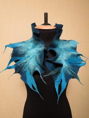 #blue felting scarf