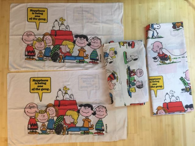 Snoopy Peanuts Full Size Sheets Flat & Fitted Pillow 2 Cases 1971 Vintage Set | eBay