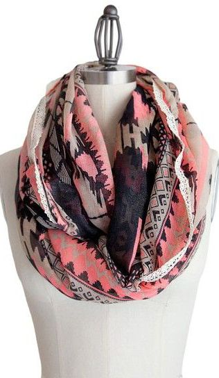 Coral Tribal Infinity Scarf.