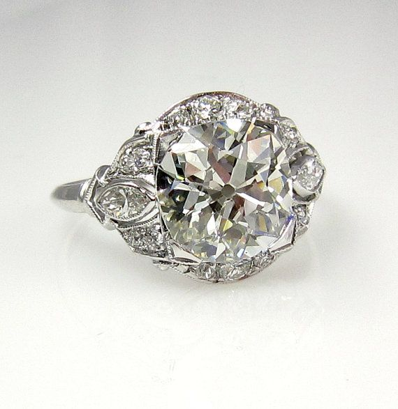 So gorgeous and unique! 1915s... 3.32ct  Antique Vintage Old Mine Cusion Cut Diamond EGL USA Engagement Wedding Anniversary Ring in Platinum