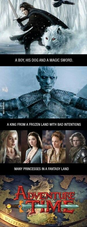 Game of thrones season 5 - Adventure time, Jon Snow, white walkers, princesses. Funny, Loras the princess
