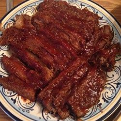 Simply the Easiest Beef Brisket Allrecipes.com Beer, onions, chili sauce, brown sugar and some salt and pepper. Recommended to cook in oven not crock pot.