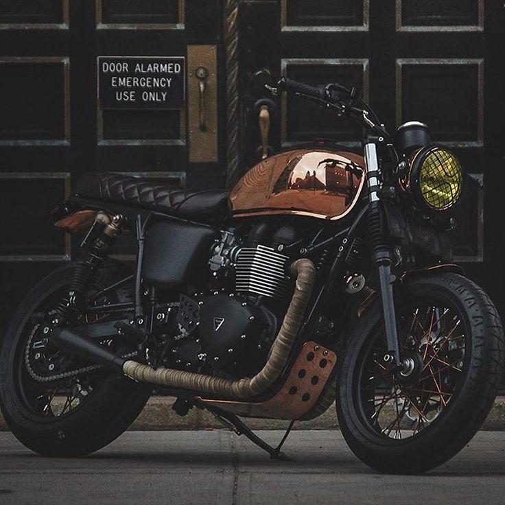 The Triumph Bonneville 'Miss Penny' is a copper plated gem. #triumph #motorcycles