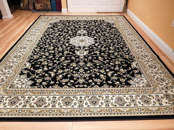 New Traditional Area Rugs 5x8 Persian Area Rug Medallion 5x7 Black Cream Beige Green Rugs for Dining Room Clearance Prime, 5x8 Carpet -- Insider's special offer that you can't miss : Area Rugs, Runners Pads