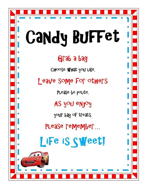 Disney Cars Birthday Party Candy Buffet Sign Printable on Etsy, $4.55