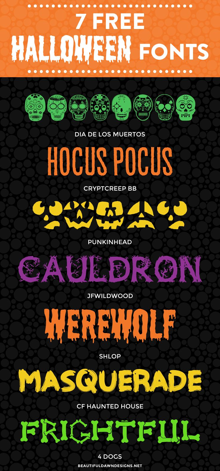 In this font roundup, I'm sharing 7 free Halloween fonts. Use these fonts to create your Halloween invitations, printables, and more. via @Tiffany Griffin | Blogging Tips