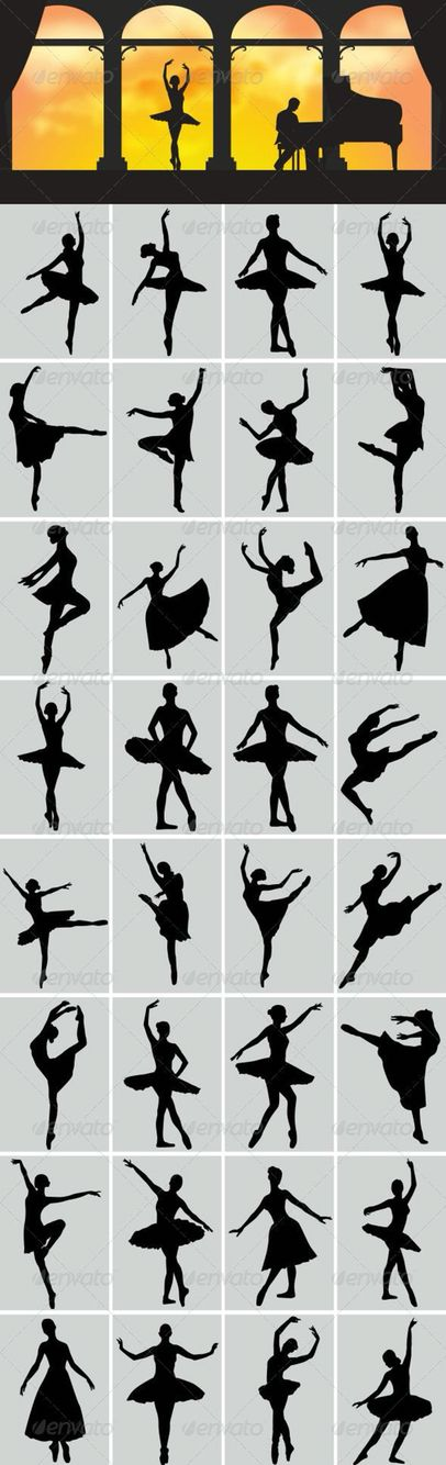Ballerina dancer poses, perfect silhouette ideas for paintings and crayon art, etc. Лепи