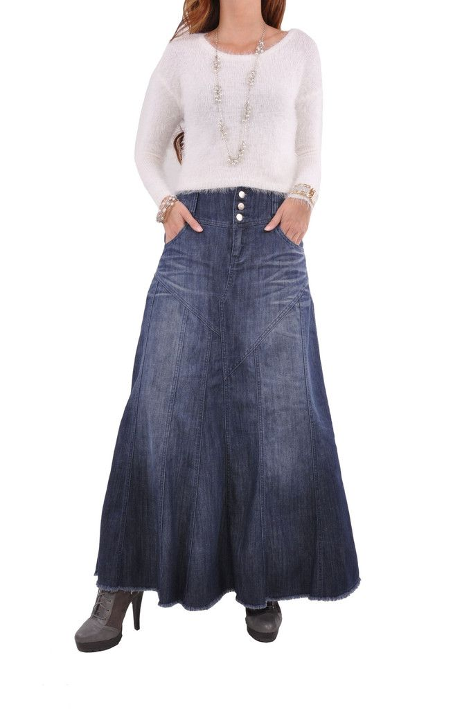 17 best ideas about Long Denim Skirts on Pinterest | Long jean ...