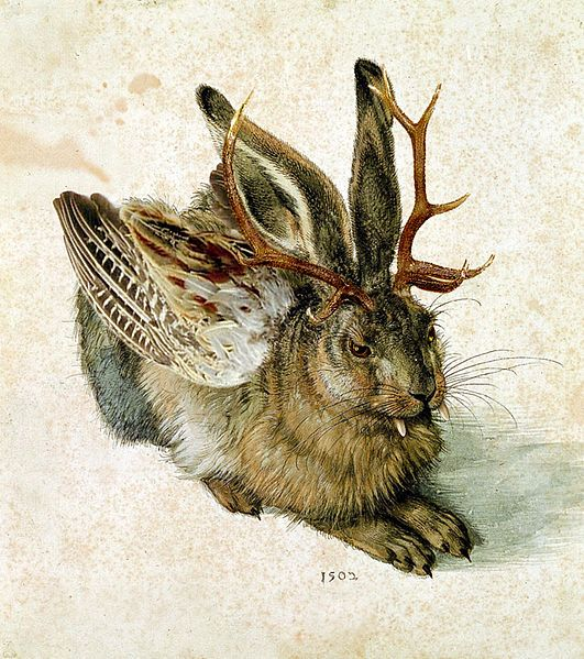 In Bavarian folklore, a wolpertinger is an animal said to inhabit the alpine forests of Bavaria in Germany. It has a body comprised from various animal parts — generally wings, antlers, tails and fangs, all attached to the body of a small mammal.