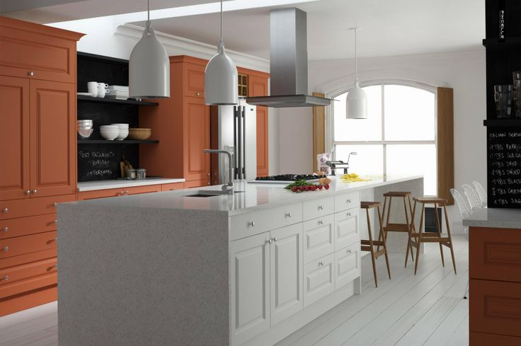 classic contemporary kitchen in terracotta and off white, features blackboard wall, large pendants and shutters in the rear windows. Design & CGI by pikcells.