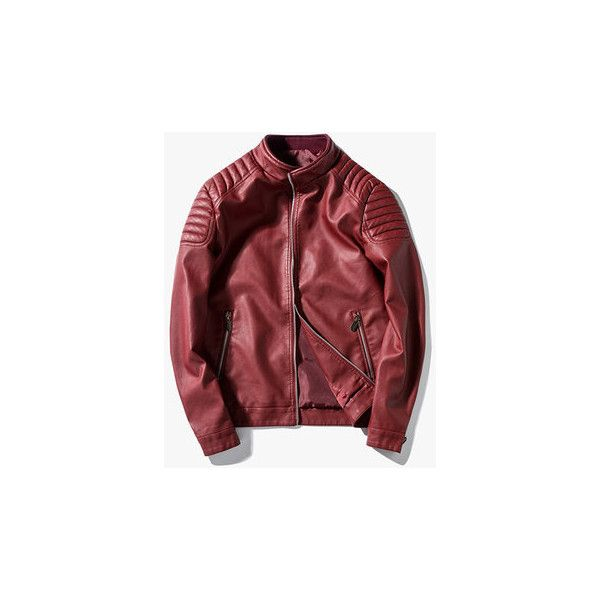 Fall Casual Slim Fit Biker Synthetic Faux Leather Jacket (79 BAM) ❤ liked on Polyvore featuring men's fashion, men's clothing, men's outerwear, men's jackets, red, mens fake leather jacket, mens red faux leather jacket, mens zip jacket, mens biker style jacket and mens red leather biker jacket
