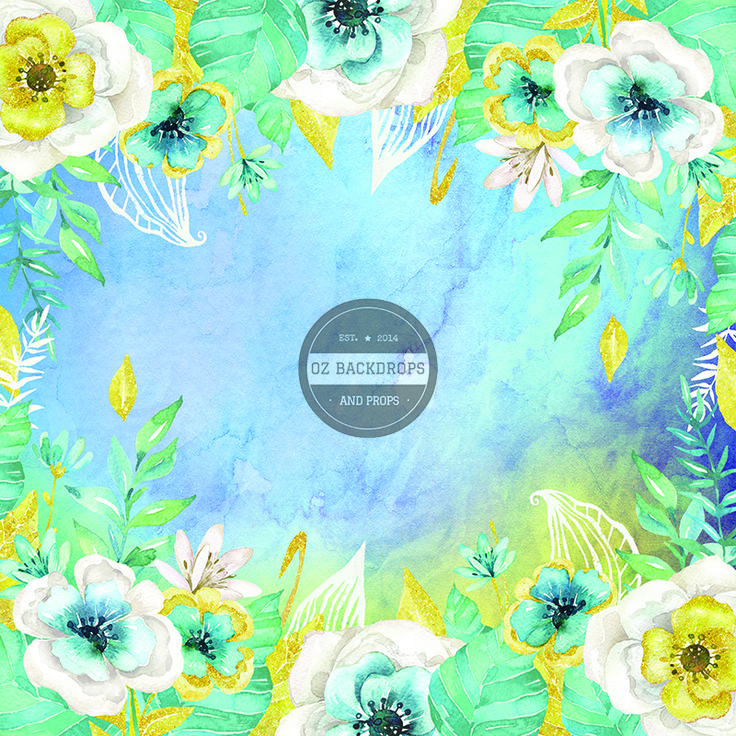 Blue Watercolour Blooms - Oz Backdrops and Props