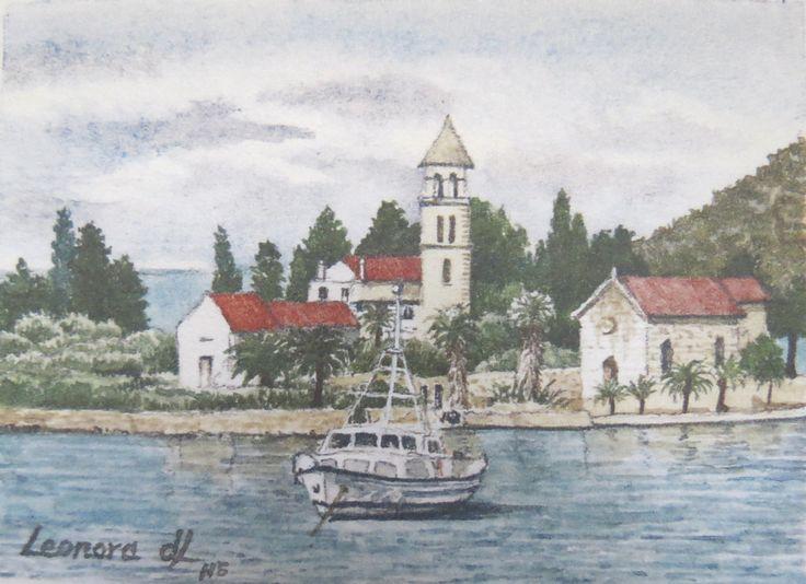 "Leonora de Lange "" Monastery on Vis - Croatia Miniature watercolour 80 x 60mm"