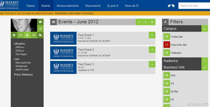 Intranet events system prototype: System Prototype, Metro Design, Events System, Intranet Events
