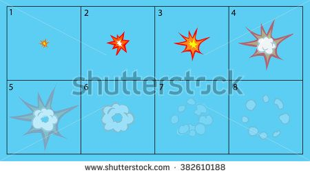 Cartoon explosion and smoke animation frames for game. Sprite sheet on blue background.