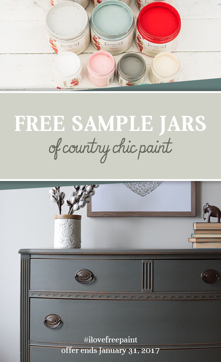 Start painting your furniture for FREE! From January 1st until February 1st, 2017 you can pick up one free 4 oz jar of Country Chic Paint at any of our participating retailers! #furniturepaint