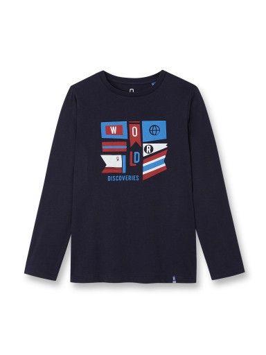 195d8fa2dd449 T-shirt manches longues - Bleu navy - Garçon - Obaïbi   Okaïdi