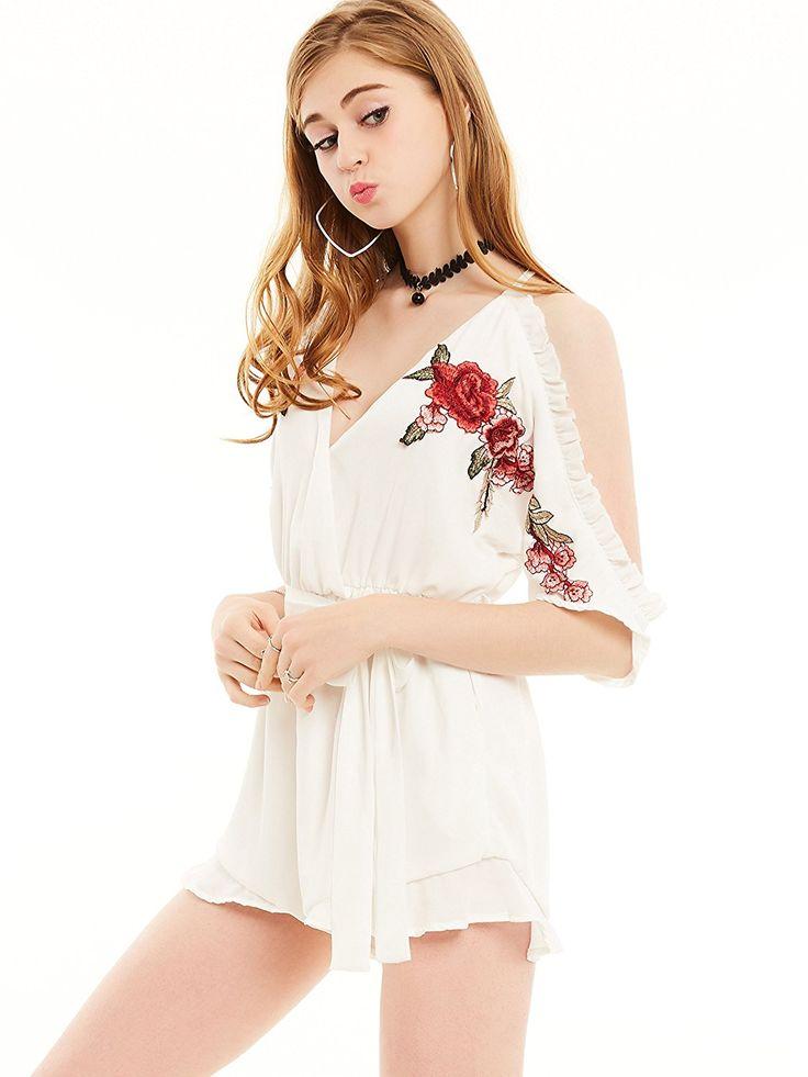 Young17 Women Cold Shoulder Slim Plain Floral Embroidery Drawstring Elastic Waist Lace-Up Ladies Jumpsuit: Amazon.co.uk: Clothing