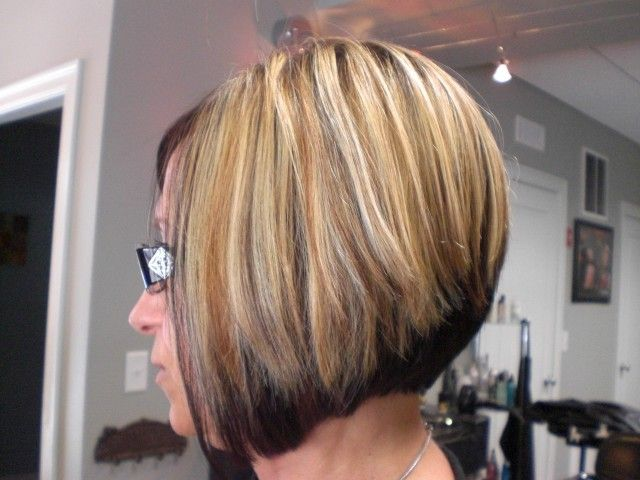 Short Bob Hairstyle Dark On Bottom Light On Top Foiled
