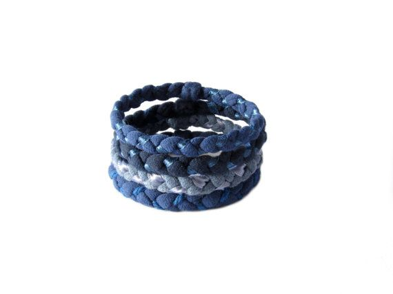 Set of four fabric bracelets made from 100% blue cotton t-shirt, enriched by a matched satin ribbon