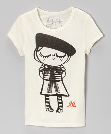 Take a look at this Ivory Bonjour Lily Tee  - Girls by Lately Lily on #zulily today!