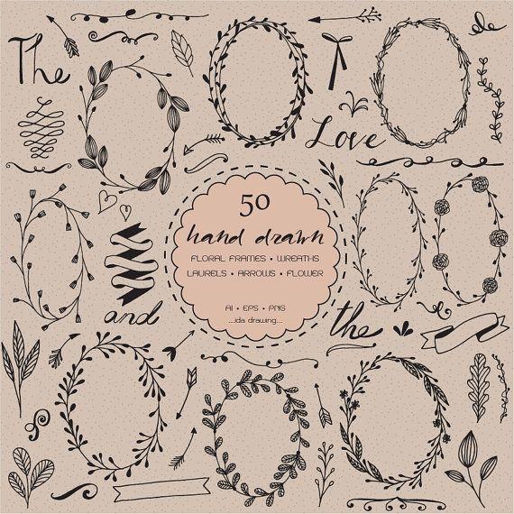 50 Hand gezeichneten Blumen Hochzeit Digital Clip von idadrawing