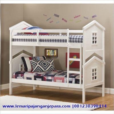 Jual Tempat Tidur Tingkat Minimalis dengan menggunakan bahan baku kayu mahoni warna cat finishing cat duco putih model lain Tempat Tidur Minimalis jepara