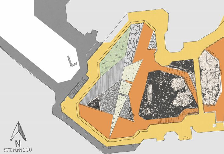 Render Site plan. Casagrande Laboratory's drawings are a pecedent. The points highlighted are the textures and their placement and circulation areas.