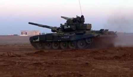 Сирийская армия громит противника впровинции Алеппо российскими Т-90