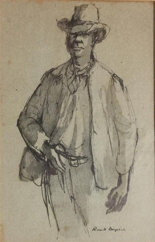 Russell Drysdale - Stockman (ink and wash)
