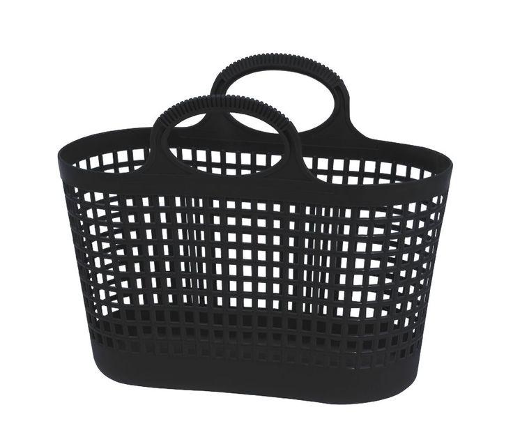 petit panier plastique vintage noir durable, panier enfant