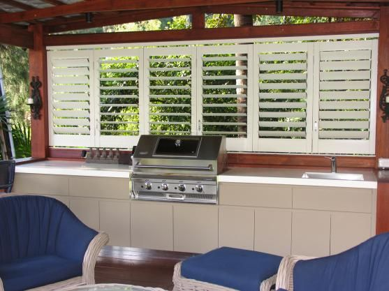 Nice BBQ and outdoor kitchen area enclosed by white shutters and this would be great for controlling the western sun #bbq #outdoorkitchen #sydney